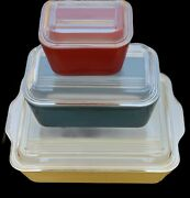 Rare Vintage Pyrex Storage Containers Red Yellow Blue Pristine Never Used