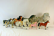 Vintage Assorted Eight Piece Lot Of Various Hard Plastic Horses 5-10