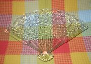 Sale Vintage Fenton Glass Clear Crystal Daisy And Button Pattern Fan Shape Tray