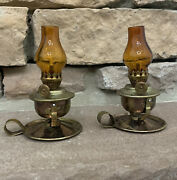 Miniature Antique Oil Lamps - Brass With Orange Glass