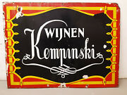 Kempinski Unique Vintage Enamel Advertising Sign And03930 From Amsterdam