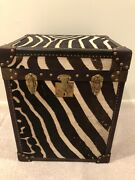 Real Zebra Skin Hide Taxidermy Steamer Trunk - Perfect Side Table - Rug