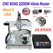 2.2kw 4axis Cnc 6040 Router Mach3 Usb Engraving Wood Cutting Drilling Machine Us