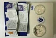 Norway 2 Silver Lillehammer Olympic Coins Set 50 And 100 Kroner 1991 Box And Coa B54