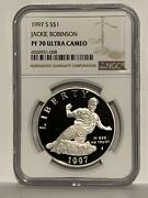 1997-s Jackie Robinson Proof Commemorative Silver One Dollar Coin Ngc Pf70 Uc