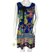 Desigual Woman Dress Multicolor Floral Size L Casual Front Tie Sleeveless Dmi11