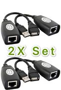2x Set Usb Extension Ethernet Rj45 Cat5e/6 Cable Adapter Extender Over Repeater
