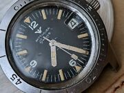 Vintage Wittnauer Geneve Diver W/mint Dial,orange Patina,all Ss Case,runs Strong