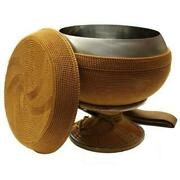 8 Monkand039s Alms Bowl Wiht Cloth Covering Base Rattan Weave Hand Made Full Set