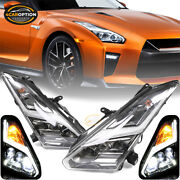 Fits 09-22 Nissan Gtr R35 Oe Usdm And Lhd Full Led Headlights Black Chrome 2pc