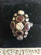 Antique Edwardian Ladies Dinner Ring Circa 1880 With Diamonds And Rubys
