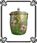 French Antique Glass Cookie Biscuit Jar Pot Legras Style Enameled Flowers Deco