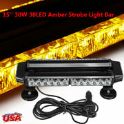 Amber 30led 15and039and039 Emergency Roof Strobe Light Bar Beacon Warning Flash Yellow 30w