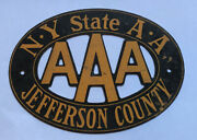 Aaa Jefferson County New York Radiator Badge Plate Tag Topper Great Shape