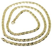 Solid 18k Yellow Gold Chain Tiger Eye Alternate Flat Plates Links 4 Mm, 20