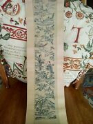 Antique Vintage Chinese Embroidery Panel Stuck On Rolled Parchment/paper