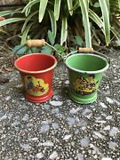Vintage Pair Sand Pails Or Candy Containers -red And Green-2 1/4 -rare Pair
