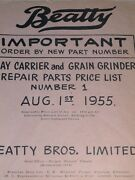 Repair Price List For Beatty Hay Carrier And Grain Grinder 1955