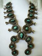 Vintage Navajo Sterling Silver Natural Turquoise Squash Blossom Necklace 309g