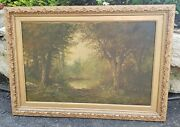 Antique Oil Painting Stream Woods Rare Early Collectible Framed Art Signed