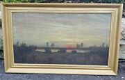 Antique Oil Painting Rare Framed Sunset Water Scene Rare Early Collectible Frame