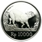Indonesia 10000 Rupiah 1987 Wildlife Silver Coin