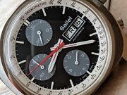 Vintage Gallet Day-date Multichron Chronograph W/divers All Ss Case,runs Strong