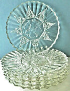 Vintage Federal Glass Co. Set Of Six Luncheon Plates In Pioneer Clear Pattern