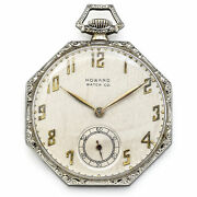 Ancien 1921 Howard 14k Or Blanc 17 Jewels Taille 10 Poche Montre 42 Mm