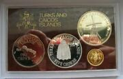 Turks Caicos 1976 Mint Box Set Of Gold Silver Coins,proof