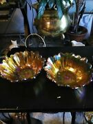 Vintage Orange Pink Scallope Opalescent Carnival Glass Ribbed Nut Bowl 7 Inches