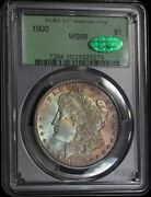 1900 Pcgs Ms66 Cac Gem Colorful Toned Morgan In An 30th Ann. Holder Mp182