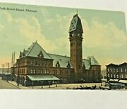1913- 1 Cent Stamp On Collectible Postcard Of Polk Street Depot In Chicago