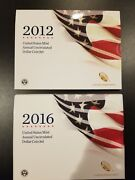 2012 And 2016 Us Mint Annual Uncirculated Dollar Coin Sets - Key Date Sets