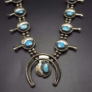 Vintage Navajo Sterling Silver And Morenci Turquoise Squash Blossom Necklace