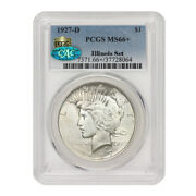 1927-d 1 Silver Peace Dollar Pcgs Ms66+ Cac Certified Illinois Set Ultra Rare