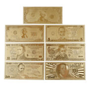 7pcs Gold Foil Banknote Usa 1 Dollar Bill Currency Paper Money Metal Plated Dfeh