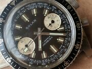 Vintage Gallet Solar Chronograph W/dark Chocolate Brown Dialdivers All Ss Case