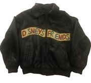 Rare Vintage Disney Friends With Warner Bugs Bunny Leather Bomber Jacket Youth M