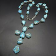 Inspiring Federico Jimenez Sterling Silver Turquoise Cluster Rosary Necklace