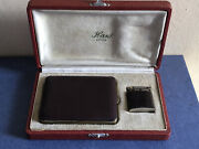 Antique French Set Of Leather Cigarette Case And Lighter, Circa 1930