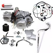 125cc Electrical Start Semi Auto 3+1 Engine Motor+wire+28mm Muffler Pipe Exhaust