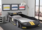Delta Children Toddler Turbo Race Car Theme Twin Black And Yellow Molded Plastic