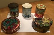 Lot 5 Vintage Empty Covered Decorative Collectible Tins