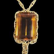 Stunning Topaz And 14k Gold Necklace