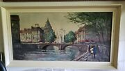 Oil Painting River City Scene Couple Walking Retro Collectible Artist Signed