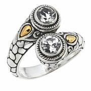 Bali Designs 1.18ctw Sterling And 18k Round White Topaz Bypass Ring Sz- 7 Hsn