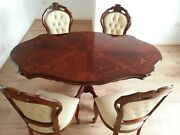 Superb Victorian Chesterfield Style Dining Table With Four Leather Chairs.