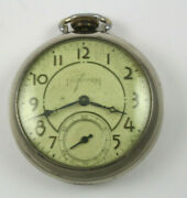 Antique Ingraham Chrome Colored Pocket Watch Made In Usa Working