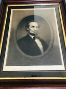 Antique Abraham Lincoln Engraving 1866 Signed Artist Proof William E Marshall